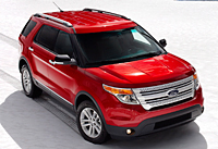 Red 2012 Ford Explorer on snow